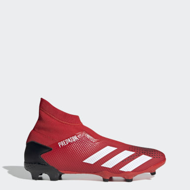 Football Red Predator 20.3 Laceless Firm Ground Boots