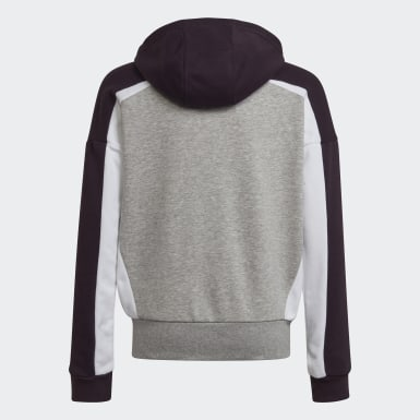 Girls Training Grey Bold Full-Zip Hoodie
