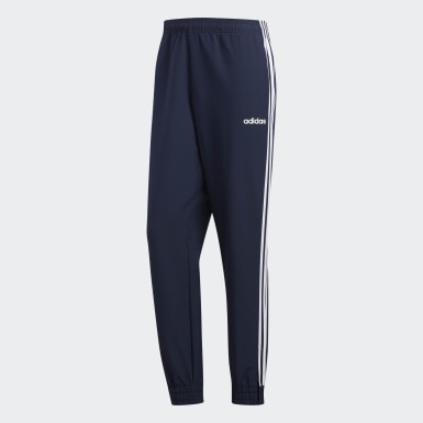 Men Essentials Blue 3-Stripes Woven Joggers