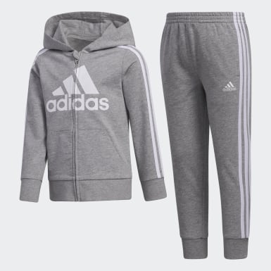 ESSNTLS FT HOODED JKT SET gris Adolescents Entraînement