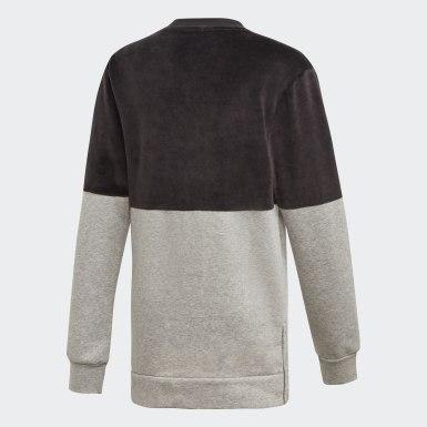Sweat-shirt ID Long Crew noir Adolescents Entraînement