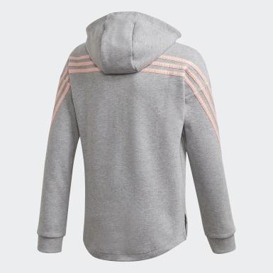 Girls Træning Grå 3-Stripes Full-Zip hættetrøje