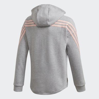 Girls Training Grey 3-Stripes Full-Zip Hoodie