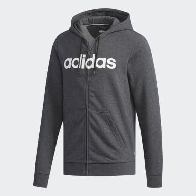 Men Sport Inspired Grey Linear Logo Zip Hoodie