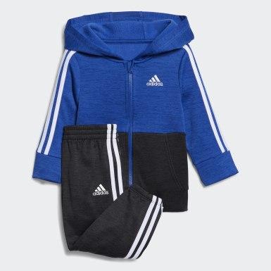 Infant & Toddler Training Blue Block Fleece Hooded Jacket Set