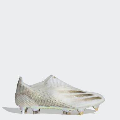 Bota de fútbol X Ghosted+ césped natural húmedo Blanco Hombre Fútbol