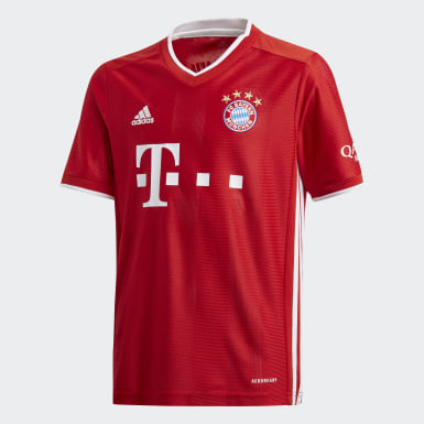 Boys Football Red FC Bayern Home Jersey