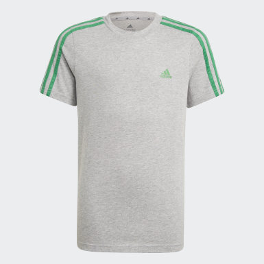 Boys Sport Inspired Grey adidas Essentials 3-Stripes Tee