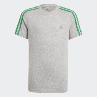 Kluci Athletics šedá Tričko adidas Essentials 3-Stripes