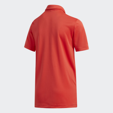 Boys Golf Red Gradient Stripe Polo Shirt