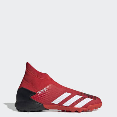 Men Football Red Predator 20.3 Laceless Turf Boots