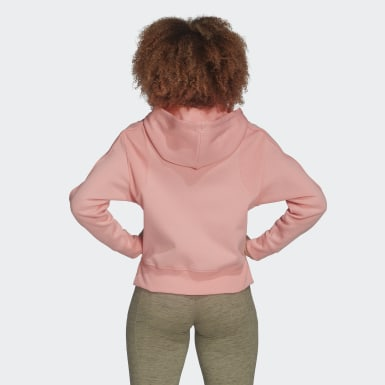 Women Athletics Pink Ribbed Hoodie
