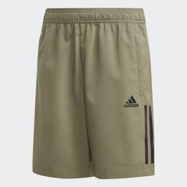 Boys Training Green 3-Stripes Shorts