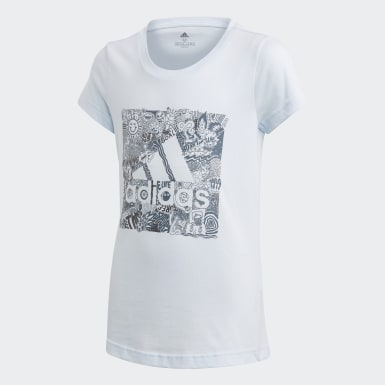 Camiseta Must Haves Doodle Badge of Sport Azul Niña Training