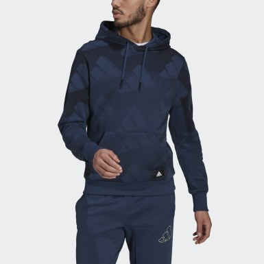 Heren Athletics blauw adidas Sportswear Allover Print Pullover Sweatshirt