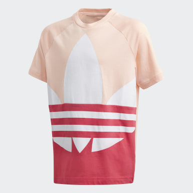 Youth Originals Pink Large Trefoil Tee