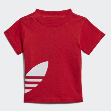 Børn Originals Rød Big Trefoil Shorts Tee sæt