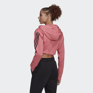 Women Athletics Pink Crop Hoodie