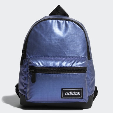Women Sport Inspired Blue Classic Metallic Backpack Extra Small
