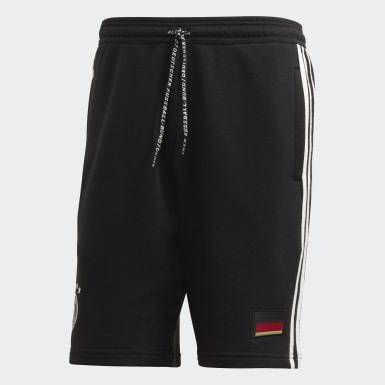 Männer Fußball DFB 3-Streifen Sweat Shorts Schwarz