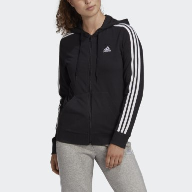 Women Sport Inspired Black Essentials Single Jersey 3-Stripes Full-Zip Hoodie