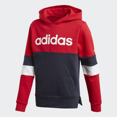 Boys Training Red Linear Colorblock Hooded Fleece Sweatshirt