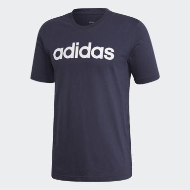 ผู้ชาย เทรนนิง สีน้ำเงิน เสื้อยืด Essentials Linear Logo