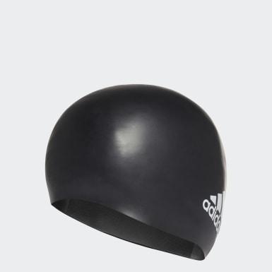 Plávanie čierna Čiapka Silicone Logo