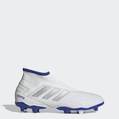 Football White Predator 19.3 Laceless Firm Ground Boots