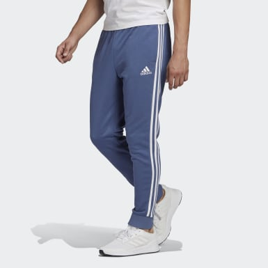 Heren Athletics blauw Essentials French Terry Tapered Cuff 3-Stripes Broek