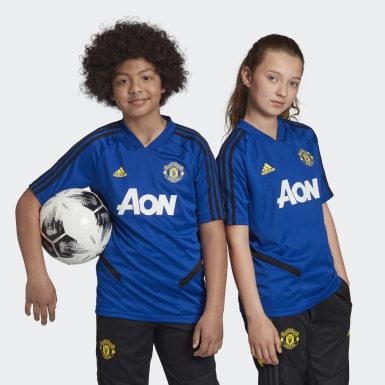 Børn Fodbold Blå Manchester United træningstrøje