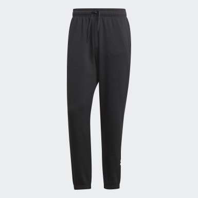 Men Athletics Black Essentials Linear Tapered Joggers