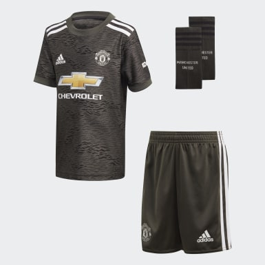 Kids 4-8 Years Football Green Manchester United Away Mini Kit