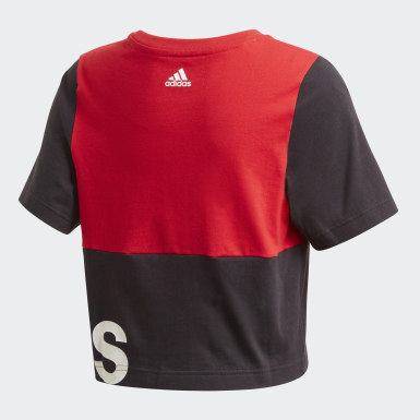 Girls Lifestyle Red Linear Colorblock Tee