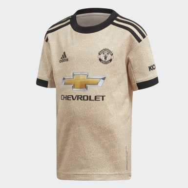 Kids Football Beige Manchester United Away Mini Kit