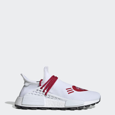Men's Originals White Pharrell Williams Hu NMD Human Made Shoes