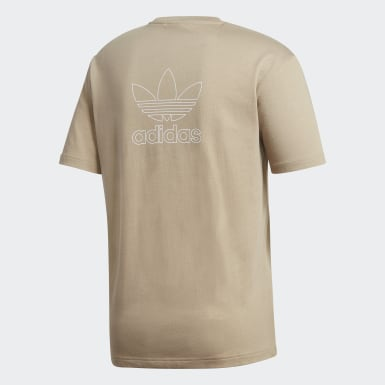 Heren Originals Bruin Trefoil Boxy T-shirt met Print Voor en Achter
