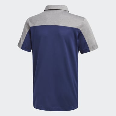 Jongens Golf Blauw Heathered Colorblocked Poloshirt