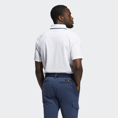 Men Golf White No-Show Polo Shirt