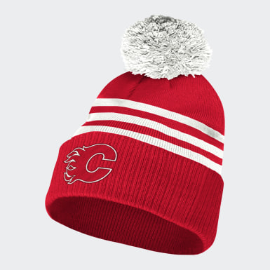 Men Hockey Not Defined Flames 3-Stripes Cuffed Pom Beanie