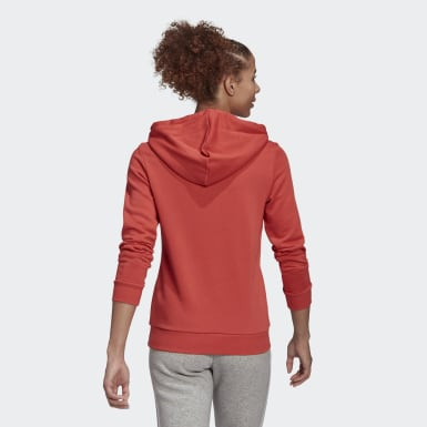 Women Sport Inspired Red Essentials Relaxed Logo Hoodie