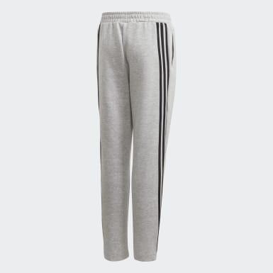 Pantaloni 3-Stripes Doubleknit Tapered Leg Grigio Ragazzo Training