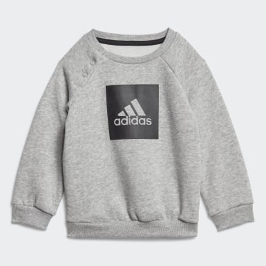 Barn Träning Grå 3-Stripes Fleece Jogger Set