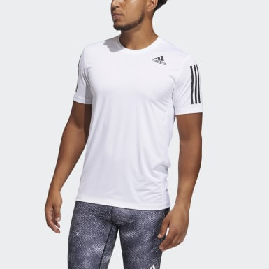 Men Training White Techfit 3-Stripes Fitted T-Shirt