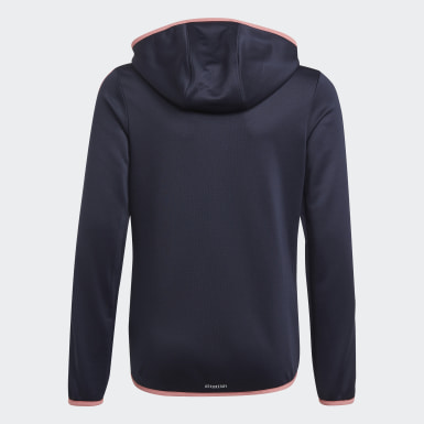 Veste à capuche adidas Designed To Move 3-Stripes Full-Zip Bleu Filles Athletics