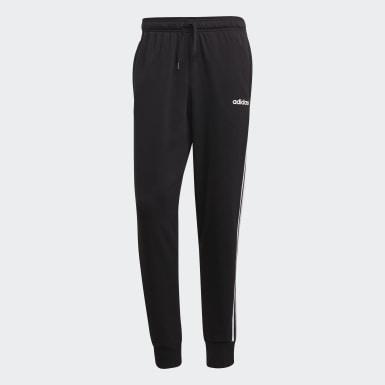 Pantalón Cónico Puño Ajustado Essentials 3 Rayas Negro Hombre Athletics