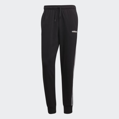 Muži Athletics čierna Tepláky Essentials 3-Stripes Tapered Cuffed