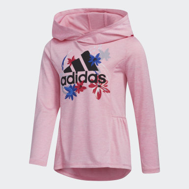 Children Training Pink Mélange Hooded Top and Printed Tights Set