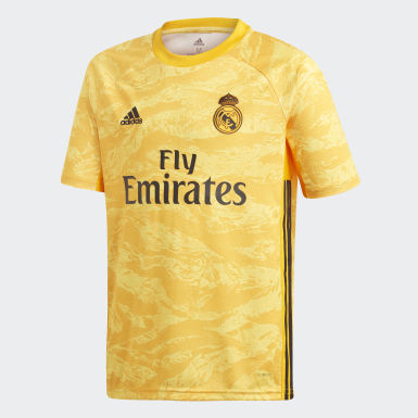 Youth 8-16 Years Football Gold Real Madrid Home Goalkeeper Jersey