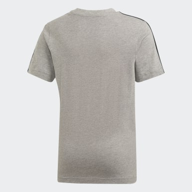 T-shirt Essentials 3-Stripes Grigio Ragazzo Athletics